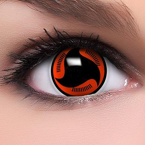 Linsenfinder Sharingan Kontaktlinsen mit Stärke \'Itachis\'s Mangekyou\' + Behälter Farbige Kontaktlinsen perfekt zu deinem Anime Cosplay Kostüm