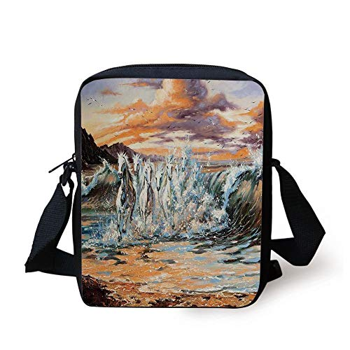 Animal Decor,Group of Pacing Horses in The Water with Fantastic Surreal Environment Life Force Retro Paint,Multi Print Kids Crossbody Messenger Bag Purse (Guns Ball Pink Paint)