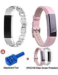 Yacool Fitbit Alta correas hebilla de cuero y pulsera de diamantes de imitación de repuesto Fitbit Alta HR pulsera con 2 protectores de pantalla