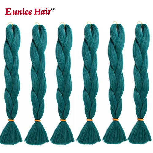 6 Packs Eunice Hair Jumbo Flechten Hair Extensions Colorful Kunsthaar Kanekalon Haar für Heimwerker Crochet Box Zöpfe 100 g/pcs 61 cm (grüne)