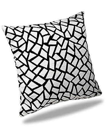 Albani Relaxing Moments Helsinki, Kissenbezug aus Chenille, 50x50 cm, Schwarz-Weiß Mosaik, 261800
