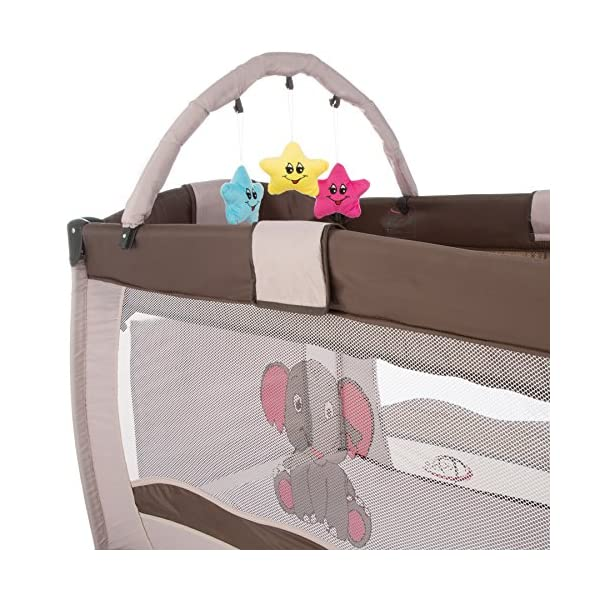 TecTake Portable Child Baby Travel Cot Bed Playpen with Entryway and Toys New - Different Colours - (Coffee | No. 402203)  Suitable for children up to an age of 36 months Bed Size: 128 cm length, 67 cm width, 81 cm height Changing mat: 68 cm length, 51 cm width 3