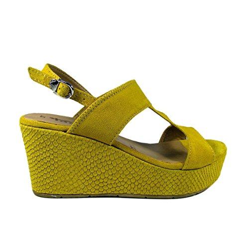 Tamaris-Sandali compensate in pelle donna Tamaris-28361-26-Sandali-36al 40, giallo (giallo), 38 EU