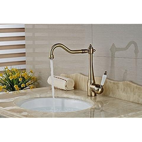 Rozinsanitary Bronzo antico bagno rubinetto miscelatore girevole lavello rubinetto in ceramica leva Deck Mount