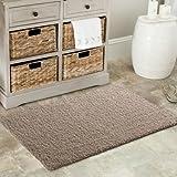 Neue weiche beige braun Shaggy Matten Maschinenwaschbar Rutschfeste Schlafzimmer Teppiche (7Größen erhältlich), plastik, rose, 80X140CM