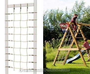 bambus-discount.com Kletternetz für Schaukel Winnetoo farbig, 200x100cm - Kinderspielgeräte für Garten, Spielgeräte für Kinder, Spielturm, Spieltürme