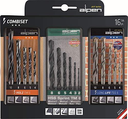 alpen CV Maschinen-Holzspiralbohrer, Durchmesser 4-10 mm, Hartmetall-Steinbohrer Long Life, 2-8 mm als 16-teiliges Set, 801003100