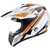 Qtech - Casque de moto/enduro/MX tout-terrain - idéal pour la route - Orange - XL (61-62 cm)