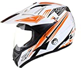 Qtech - Motocross-Helm mit Visier - für Offroad/Enduro/Touring Sport - Orange - L (59-60 cm)