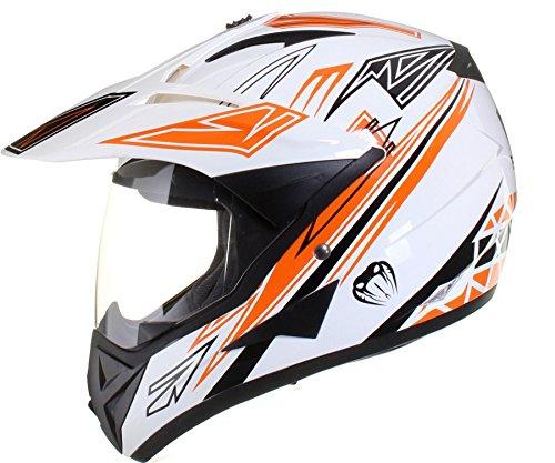 Qtech - Motocross-Helm mit Visier - für Offroad/Enduro/Touring Sport - Orange - M (57-58 cm)