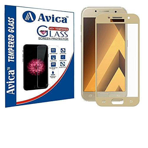 AVICA 0.3mm Full Edge to Edge Cover Gold Tempered Glass Screen Protector for Samsung Galaxy A5 (2017) image