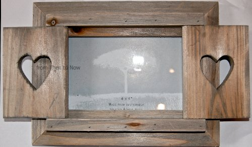 from Then to Now Chic & Shabby Herz Shutter Holz rustikal Bilderrahmen 15,2x 10,2cm