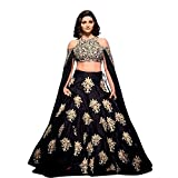 SK Clothing Black Color Raw Silk Semi_Stitched Lehenga Saree For Women (Navratri & Festival & Wedding Special Dulhan Lehenga Saree)