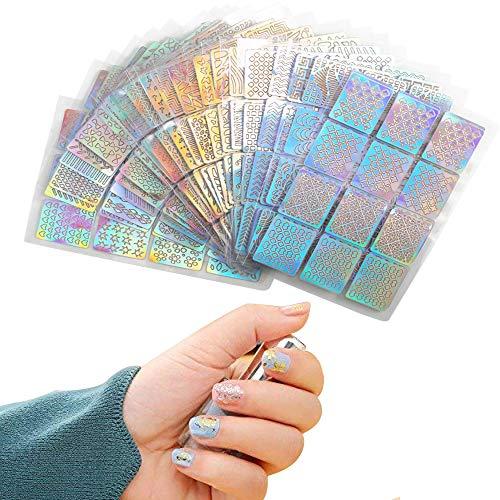 Nagelaufkleber Nahuaa Nagelsticker Nagel Schablone 288 Stück Vinyls Aufkleber Set Nail Art für Nageldesign Falsche Nägel Natürliche Deko DIY 24 Blätter (Vinyl-schablone Buchstaben)