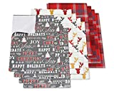 American Greetings Christmas Gift Wrapping Paper Sheets with Gridlines Bundle, 12 Sheets; Lettering, Reindeer and Plaid