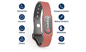 MyICETag unisex Smart Medical Alert ID Bracelet - red (Size SM - Black Pod)