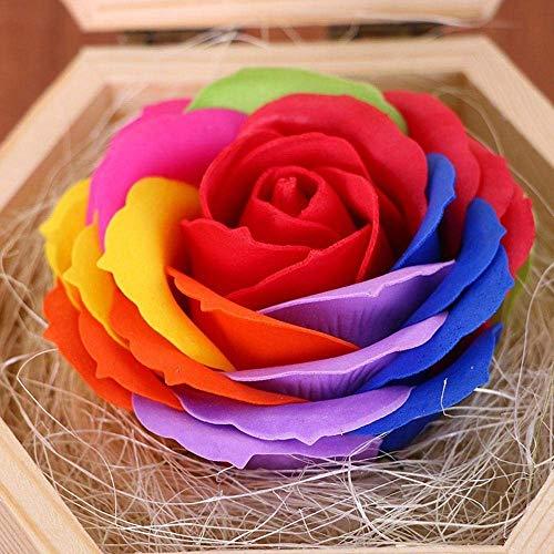 Schöne Seife (Handgemachte Rose Seife,künstliche Rose Holzkiste,Geschenk für Mädchen,Muttertag,Valentinstag,Jubiläum,Geburtstag Rot)