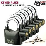 Target TL021 chiave da lucchetto di sicurezza con allarme, confezione da 6, 18 chiavi e lucchetti con chiave unica adatta a tutti