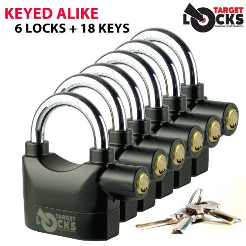 Target TL021 Keyed Alike Set of Alarmed Padlocks - 6 Security Alarm Padlocks + 18 Keys / One Key Fits All by Target Locks (Auto-alarm-key-set -)