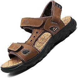 Verano Nuevo Hombre Sandalias cuero pescador playa zapatos sandalias de cuero respiradero ocio expuestos dedo del pie sandalias correa de senderismo sandalias