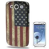 BestBuy-24 Case USA Bandiera per Cellulare Smartphone Samsung Galaxy S3/S 3 / S III/i9300, Custodia Cover Retro US Flag Vintage
