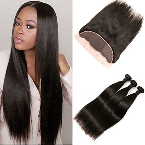 DAIMER Lace Frontal Closure Echthaar Free Part 4x13 Top Lace Closure with Baby Hair Bleached Knots and Peruvian Human Hair Weave 3 Bundles Natural Color 22 24 26 +20 Frontal