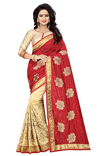 J B Fashion Bhagalpuri Saree With Blouse Piece (H-Saree For Women-Silky-Flower-Red_Red-Cream_Free Size)