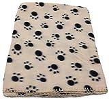 Loose und Germershausen GbR Haustierdecke Hundedecke Fleece Decke Katzendecke Tierdecke Liegedecke Pfötchen (beige, 80 x 120)