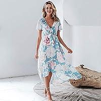 TCQJOG V Neck Women Asymmetric Dresses Short Sleeve Floral Print Long Plus Size Dress Summer Elegant Holiday L Sky Blue
