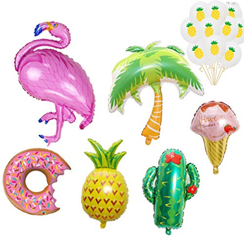 Mishiner 16 Stück Flamingos Thema Party Folienballons Kit, Palm Tree Donut, Ananas, Kaktus Dekorationen Folienballons für Summer Beach Hawaii Luau Party Supplies