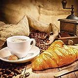 Artland Qualitätsbilder I Glasbilder Deko Glas Bilder 30 x 30 cm Ernährung Genuss Getränke Kaffee Foto Braun G4AC Tasse Croissant Kaffeebohnen