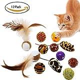 Tacobear Katzenspielzeug Interaktive 12 Pack Bälle mit Feder Quietschende Glocke Mäuse Katzenminze für Katze Kätzchen