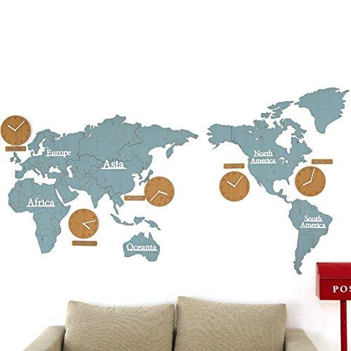 Unbekannt CivilWeaEU- (220X115 cm) DIY Medium Welt Karte Uhr Personalisierte Büro Wanduhr Wohnzimmer Mute Tabelle (Farbe : F) - Medium-uhr
