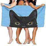 LilyNa Schwarz Katze Spa Wrap Bad Dusche Handtuch für Pools, Fitnessstudios, Strände 78,7x 129,5cm