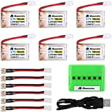 Powerextra 6Pcs 3.7V 150MAH RC Battery With 6-Port Charger For JJRC H36 Eachine E010 GoolRC T36 NIHUI NH010 RC Li-PO Battery
