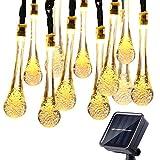 Qedertek Guirlande Lumineuse Solaire En Forme De Goutte d'Eau 4.8M 20 LED Lampe Solaire Extérieure Imperméable Pour Jardin, Mariage, Terrasse, Patio, Maison, Fête de Noël (Blanc Chaud)...