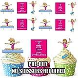 12x gimnasia rosa chicas Keep Calm Mix–comestibles función atril UPS Tarjeta de oblea para tartas