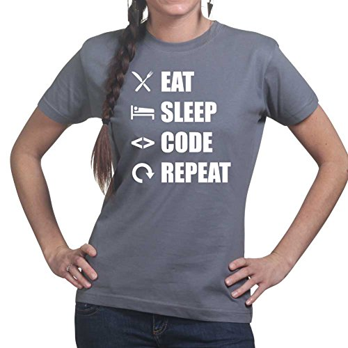 Womens Eat Sleep Code Repeat Coding Programming Ladies T Shirt (Tee, Top) Charcoal Grey