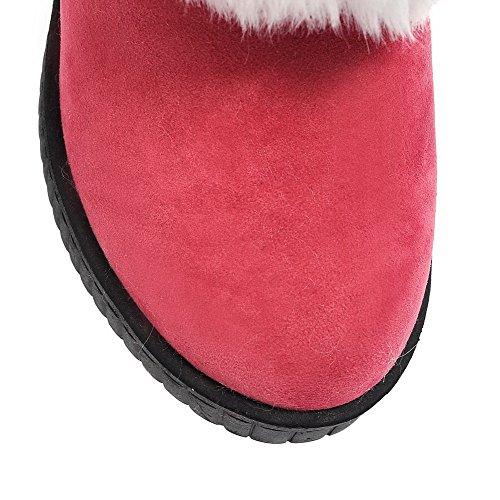 Absatz Rot Hoher spitze Damen Stiefel Mattglasbirne Rund Niedrig Gemischte Zehe Farbe Aalardom wCIAqw