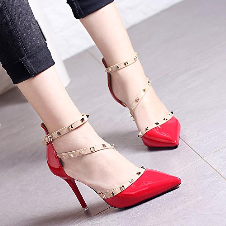 82bdc1bdef5032 des chaussures à talons Chaussure shaoge printemps petite bouche bouche  bouche fine pointe un mot féminin talons de chaussures de mariage rouge  boucle des ...