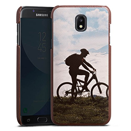 Mountainbike-kunst (Samsung Galaxy J5 Duos 2017 Lederhülle braun Leder Case Leder Handyhülle Fahrrad Bicycle Mountainbike)