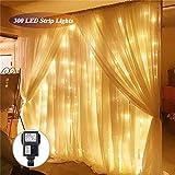 SOLMORE LED Lichtervorhang Lichtkette 3x3m 300LEDs Vorhang Licht 8 Modi Romantisch Licht Schnur String Fairy Lights IP44 Wasserdicht für Hochzeit Decoration Garden Weihnachten Warmweiß