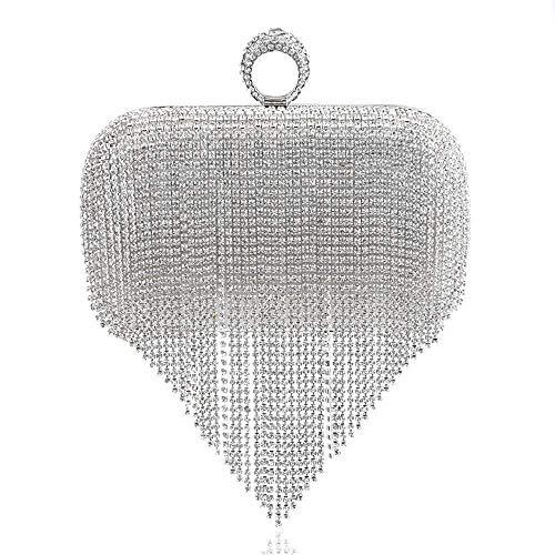 TCFNVDJB Prom Clutch Bags Fransen Handtaschen Fashion Bankett Clutch Bag Party Kleid Abendtasche für Damen/Mädchen (Color : Silver)