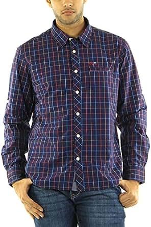 BARE DENIM Men's Slim Fit Cotton Shirt (305000000754894_Navy_XX-Large)