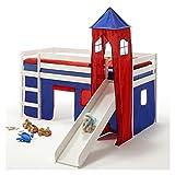 IDIMEX Rutschbett Hochbett Spielbett Bett Benny Kiefer massiv Weiss mit Turm+Vorhang blau/rot 90 x 200 cm (B x L) mit Rutsche