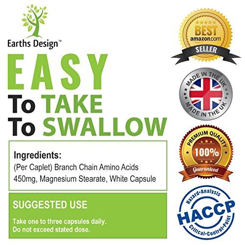 BCAA 2:1:1   Aminoácidos de Cadena Ramificada   450mg   Con Los Aminoácidos Esenciales Leucina  Isoleucina  Valina   90 Cápsulas (Suministro Para 3 Meses) de Earths Design