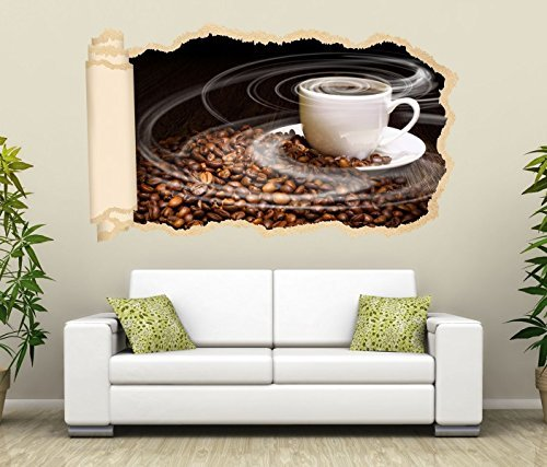 *3D Wandtattoo Tapete Kaffee Tasse Coffee Bohnen Küche Wand Aufkleber Wanddurchbruch Deko Wandbild Wandsticker 11N1069, Wandbild Größe F:ca. 97cmx57cm*