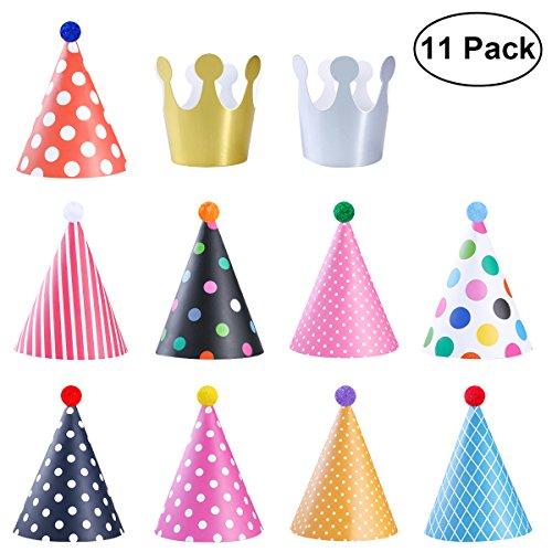YeahiBaby Geburtstag Party Hüte Dekorationen für Kinder Erwachsene Spaß Party Favors Pack von 11 (Kinder Elf Hut Für)