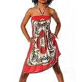 H112 Damen Sommer Aztec Bandeau Bunt Tuch Kleid Tuchkleid Strandkleid Neckholder, Farben:N-6217 rot;Größen:Einheitsgröße