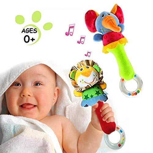 Blppldyci 2 Pack Rattles Shaker Soft Baby Musical Instruments Sensory Toy Cute Stuffed Animal Toy Infant Developmental Hand Grip for 3 6 9 12 Months